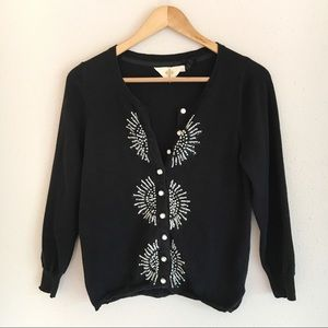 Anthropologie HWR Monogram Floral Knit Cardigan